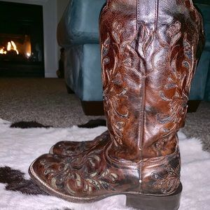 Stetson Leather/Lace Cowgirl Boots. Retail $299!